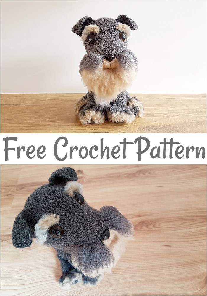 Amigurumi Schnauzer Dog With Fur Free Crochet Pattern