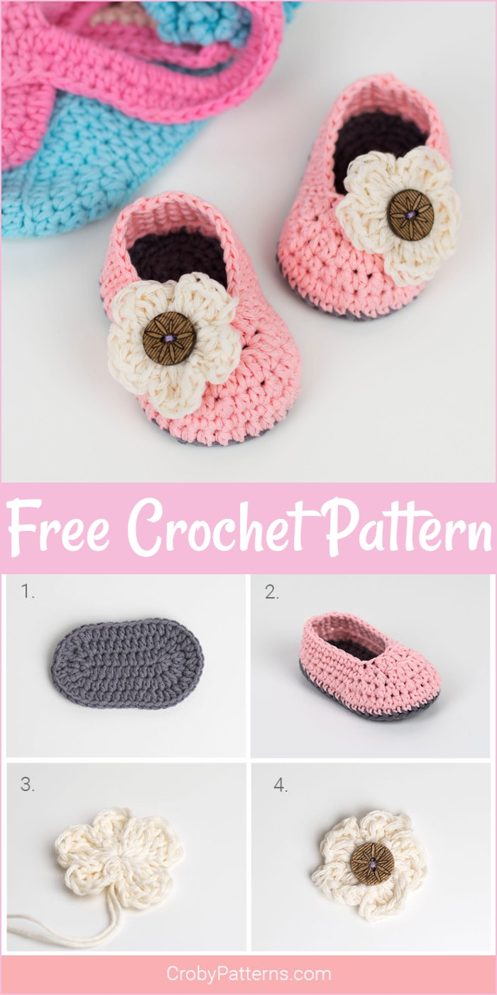 Free Crochet Baby Booties With Flower