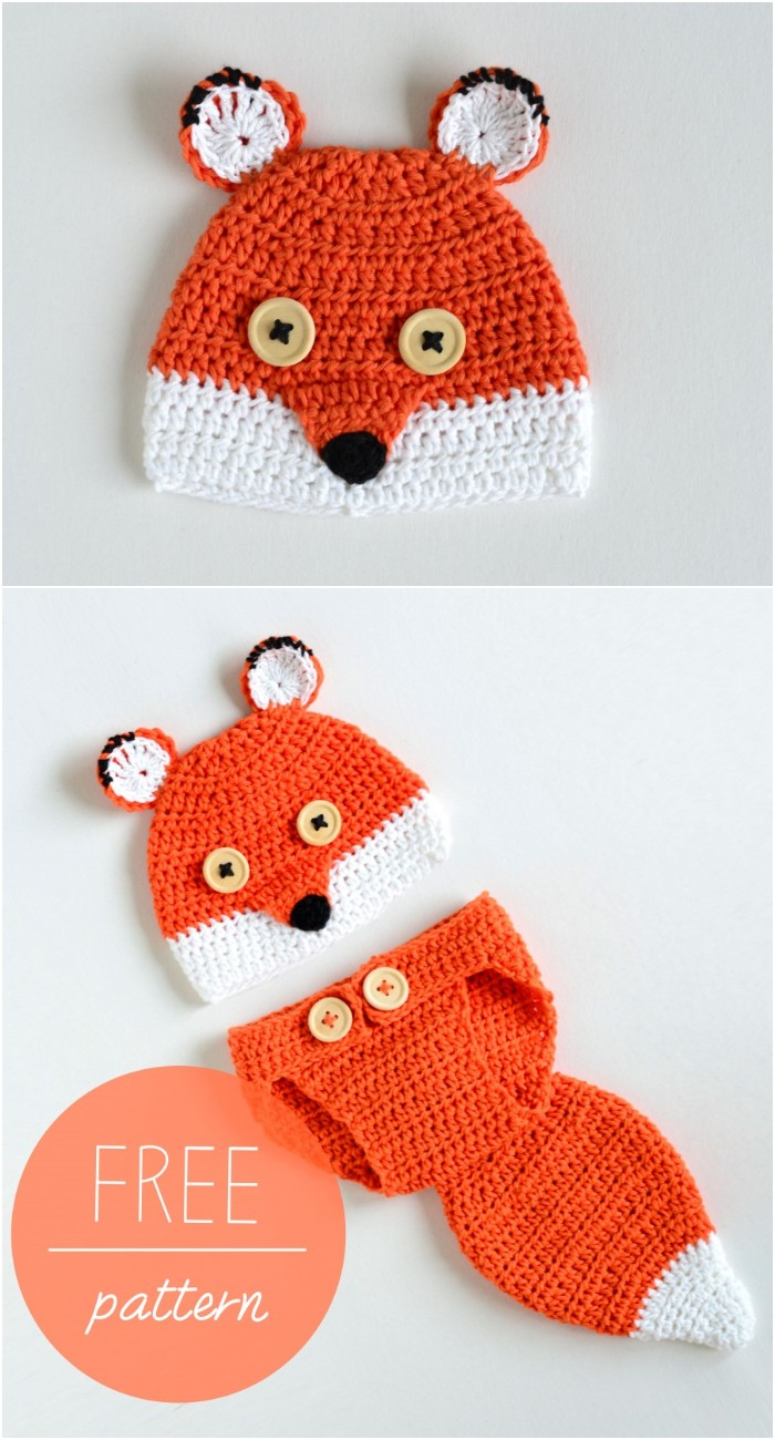 Free Crochet Baby Hat And Diaper Cover Cute Fox