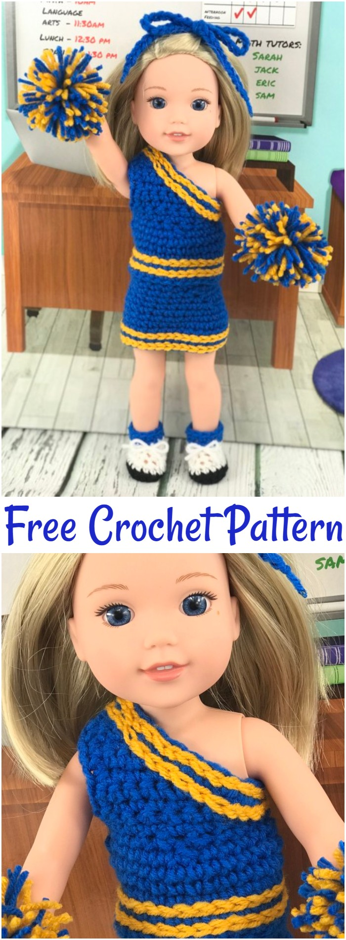 Free Crochet Pattern 14.5″ Doll Cheerleader Outfit