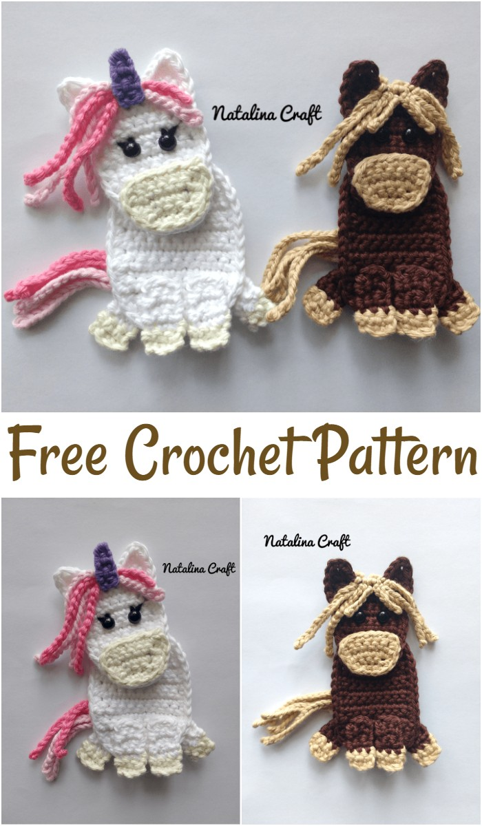 Free Crochet Pattern: Appliques Horse And Unicorn