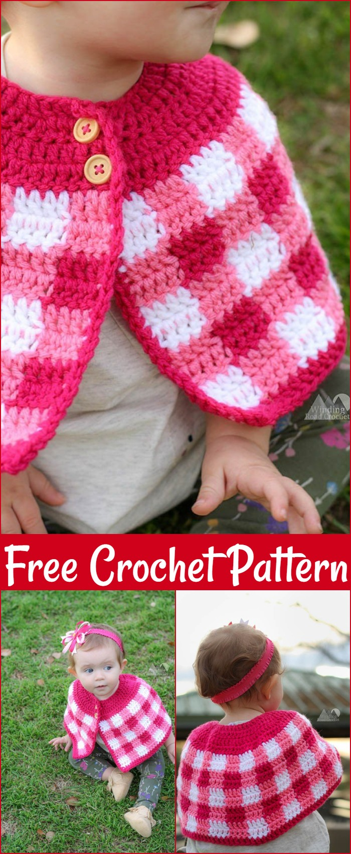 Free Crochet Plaid Cape With Baby And Girl Sizes