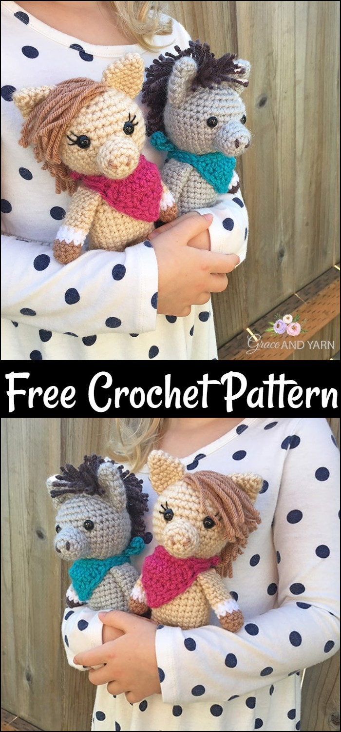 Mini Amigurumi Horse And Donkey A Free Crochet Pattern