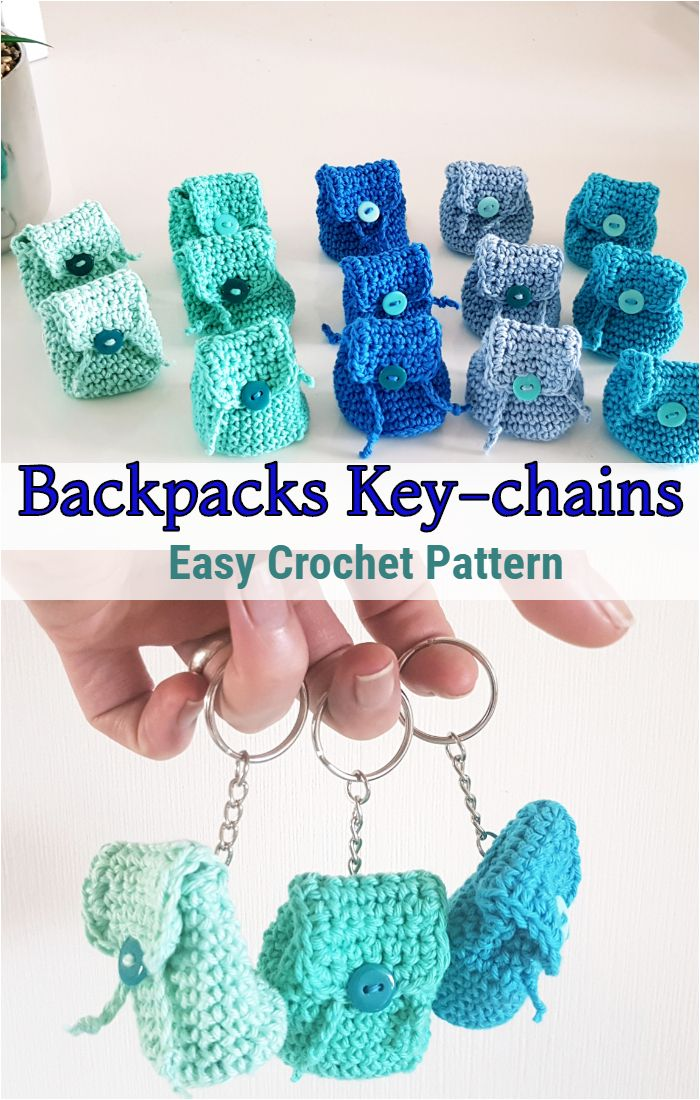 Backpacks Key-chains. Easy Crochet Pattern