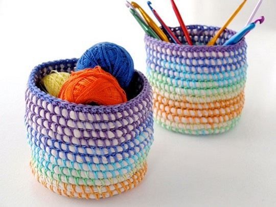 Coil + Crochet Rainbow Basket