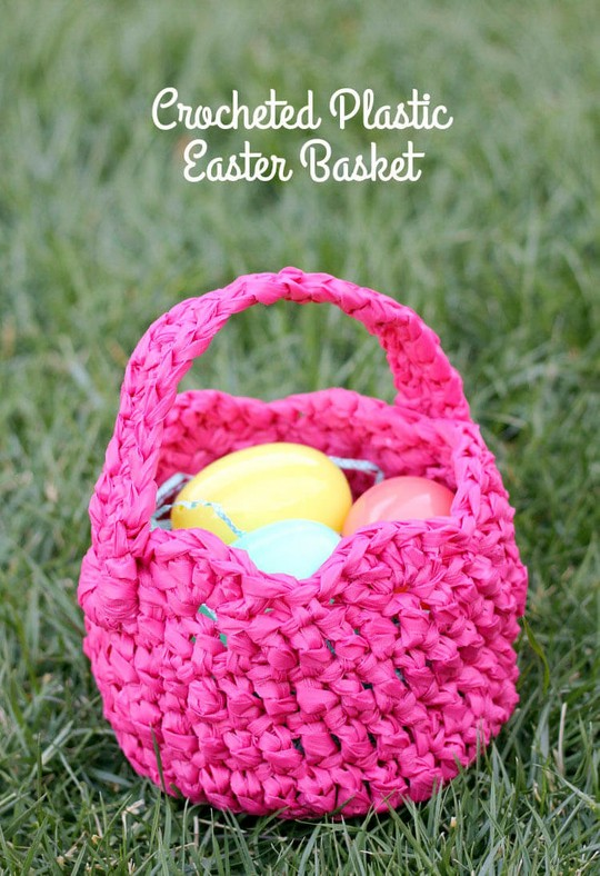 Plastic Crocheted Easter Basket