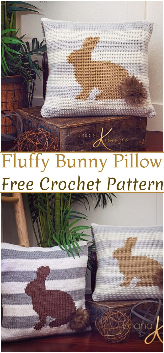 Crochet Fluffy Bunny Pillow Pattern