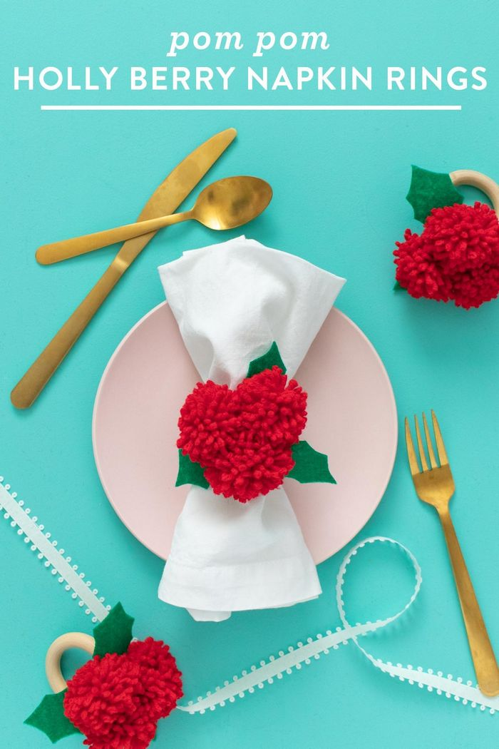 DIY Pom Pom Holly Berry Napkin Rings