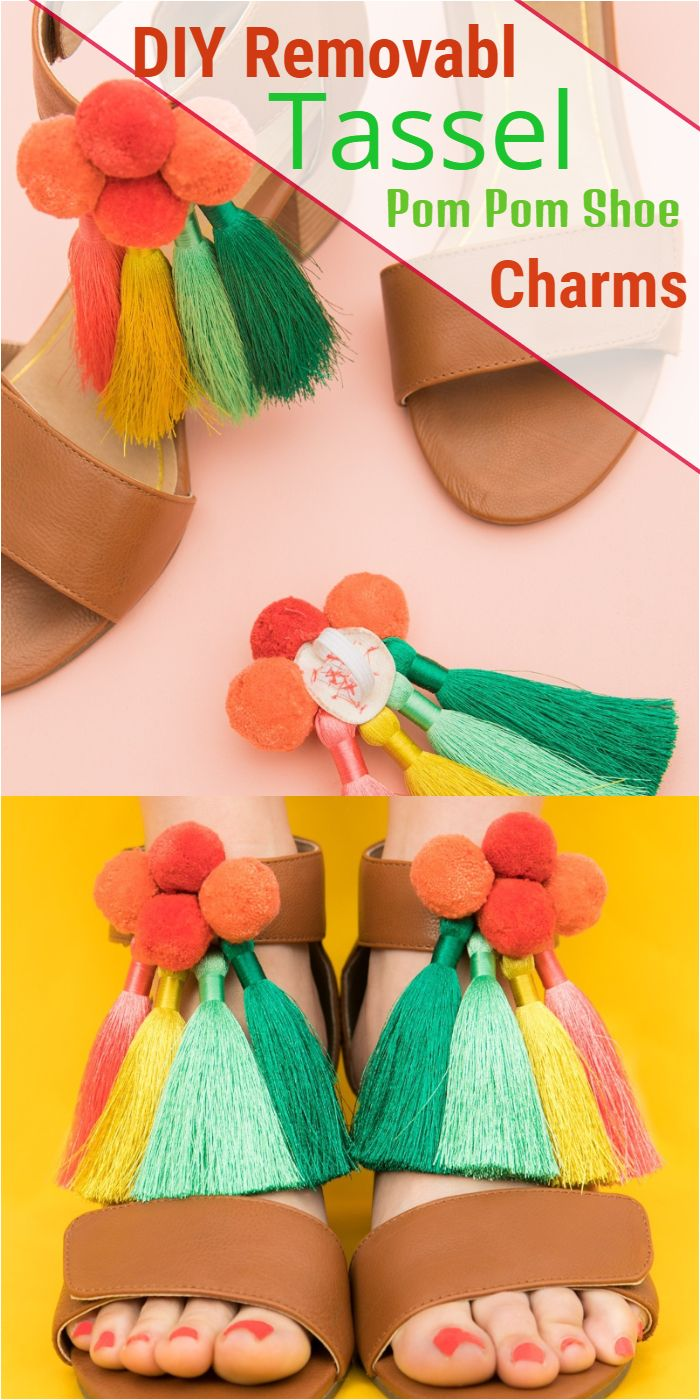 DIY Removable Tassel Pom Pom Shoe Charms