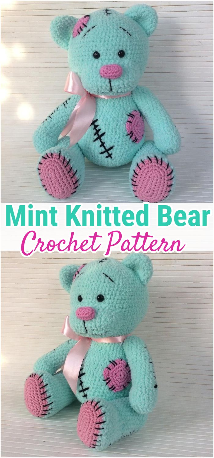 Mint Knitted Bear