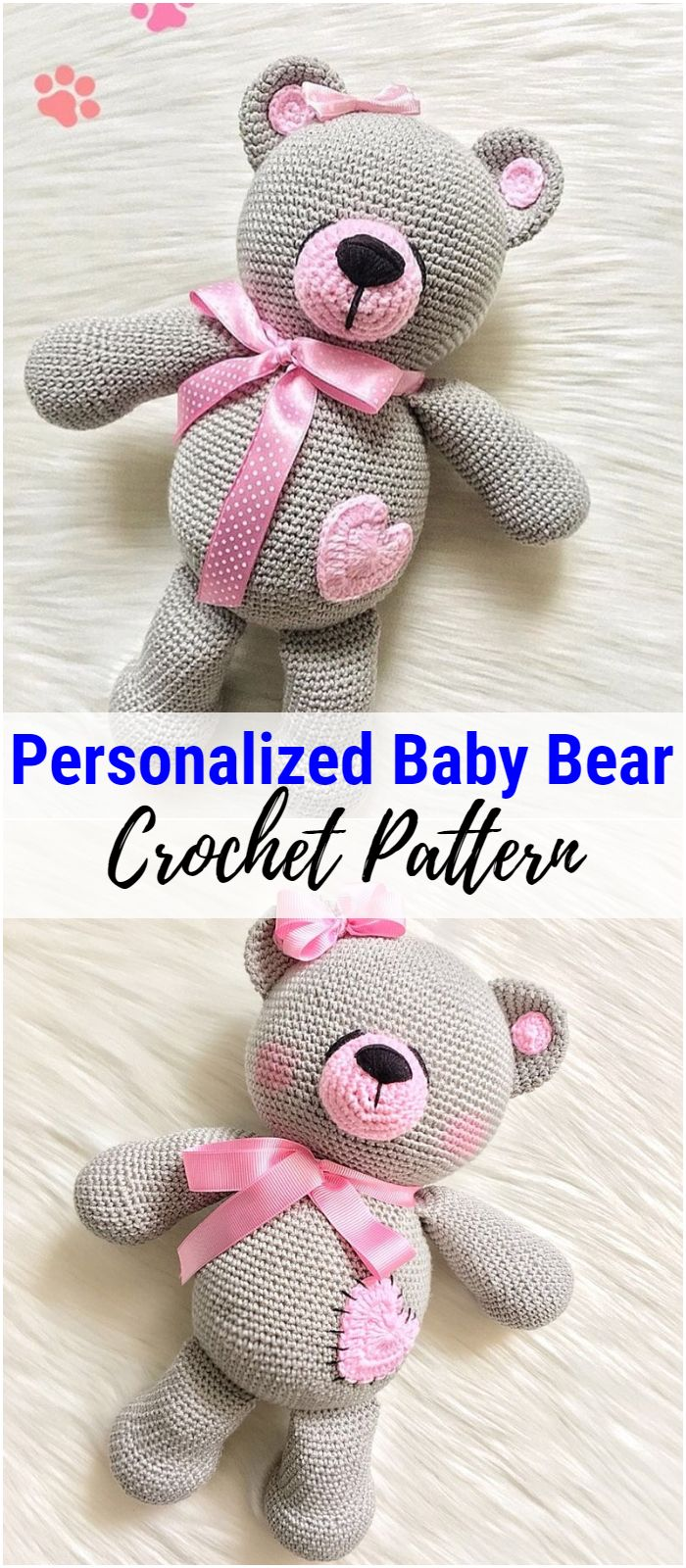 Personalized Crochet Baby Bear Toy