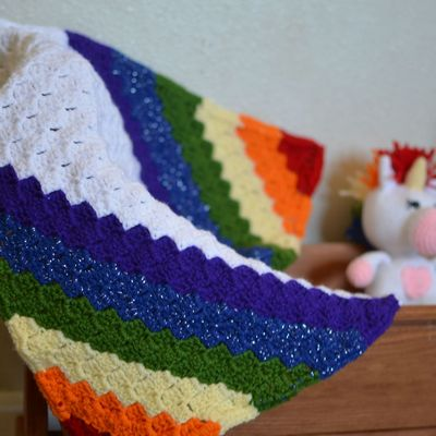 C2C Rainbow Crochet Baby Blanket Free Pattern
