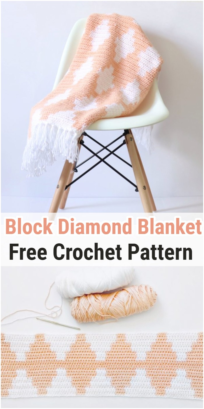Crochet Block Diamond Blanket