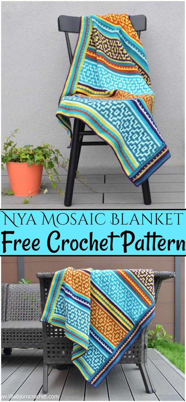 Crochet Nya Mosaic Blanket Pattern