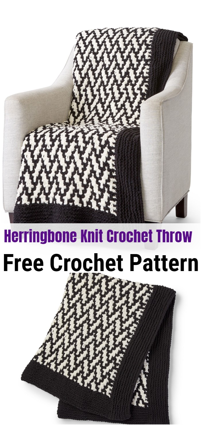 Herringbone Knit Crochet Throw