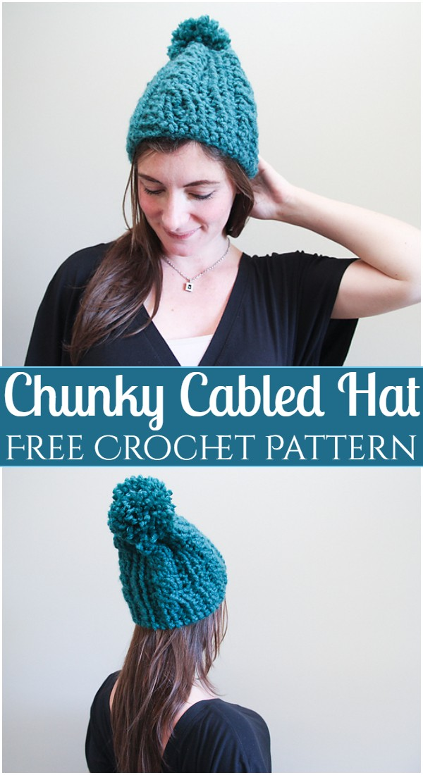 Chunky Cabled Crochet Hat Patterns