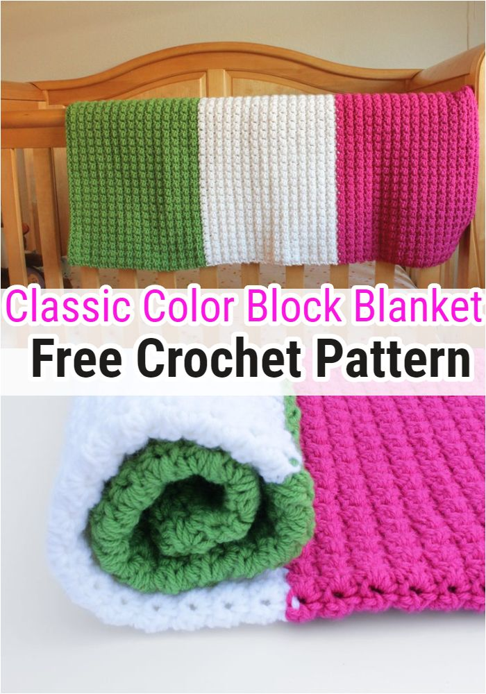 Classic Color Block Blanket Free Crochet Pattern