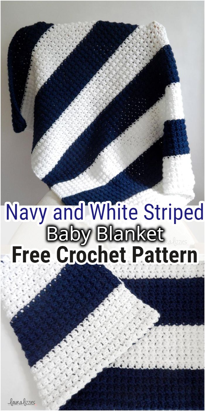 Navy and White Striped Blanket Free Crochet Pattern
