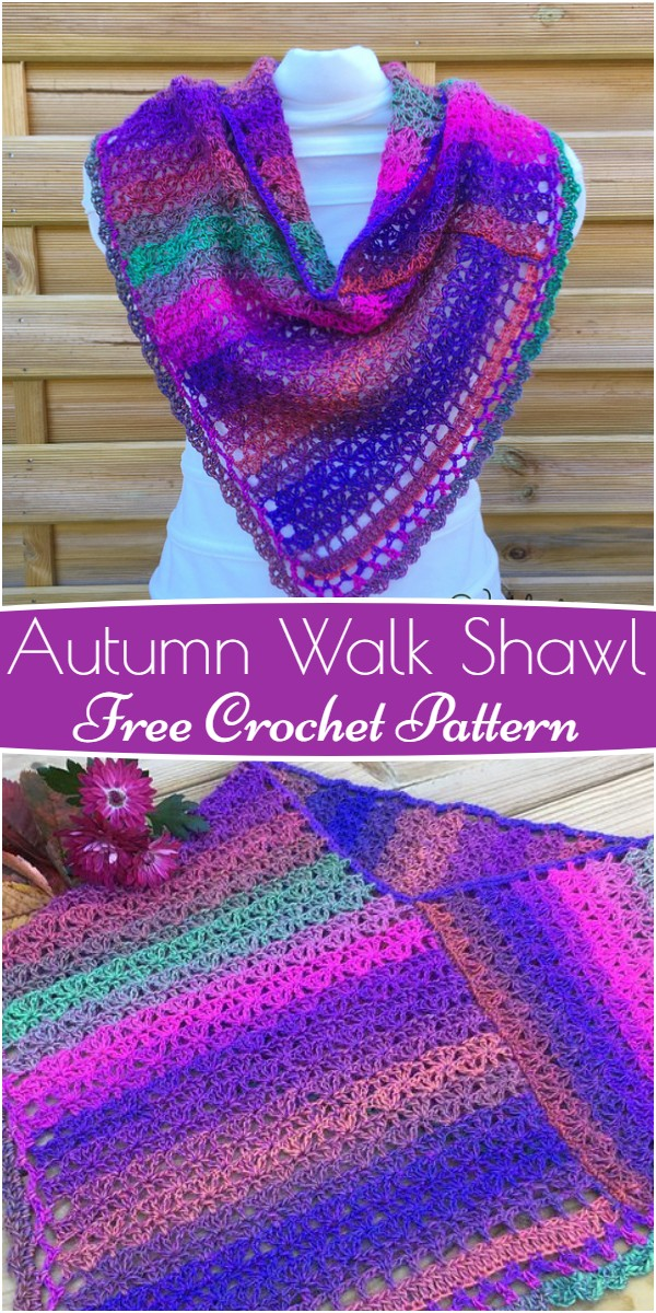 Autumn Walk Shawl Free Crochet Pattern