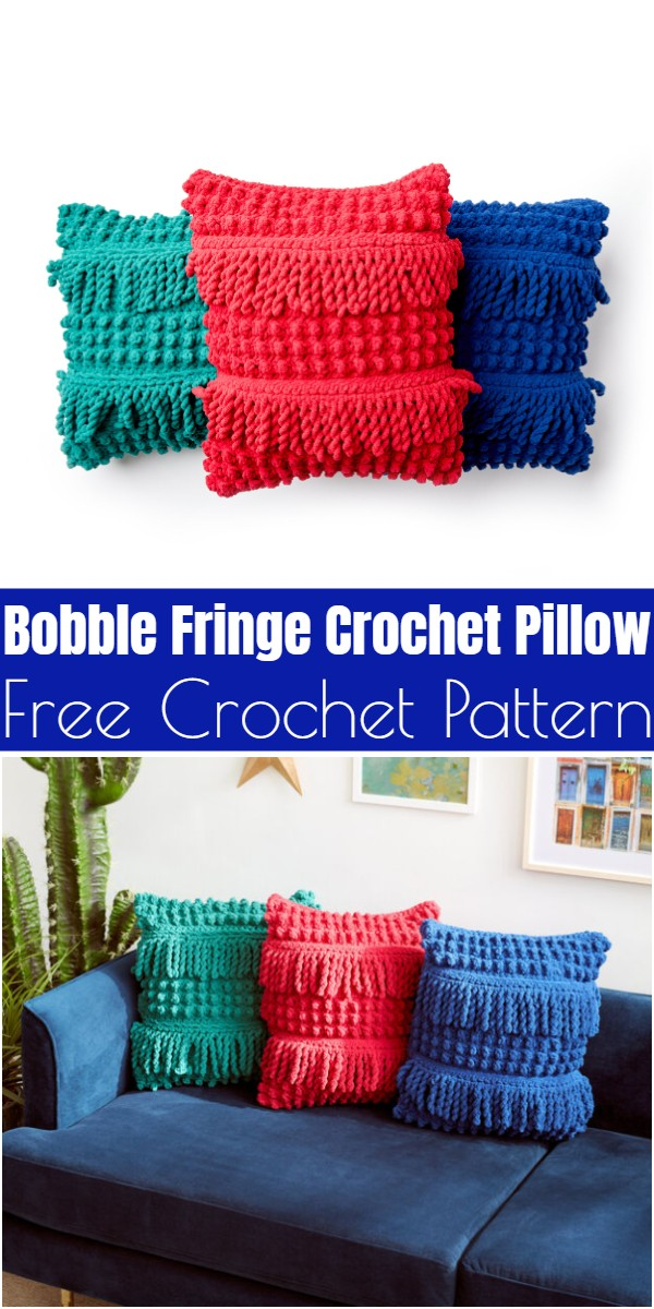 Bobble Fringe Crochet Pillow