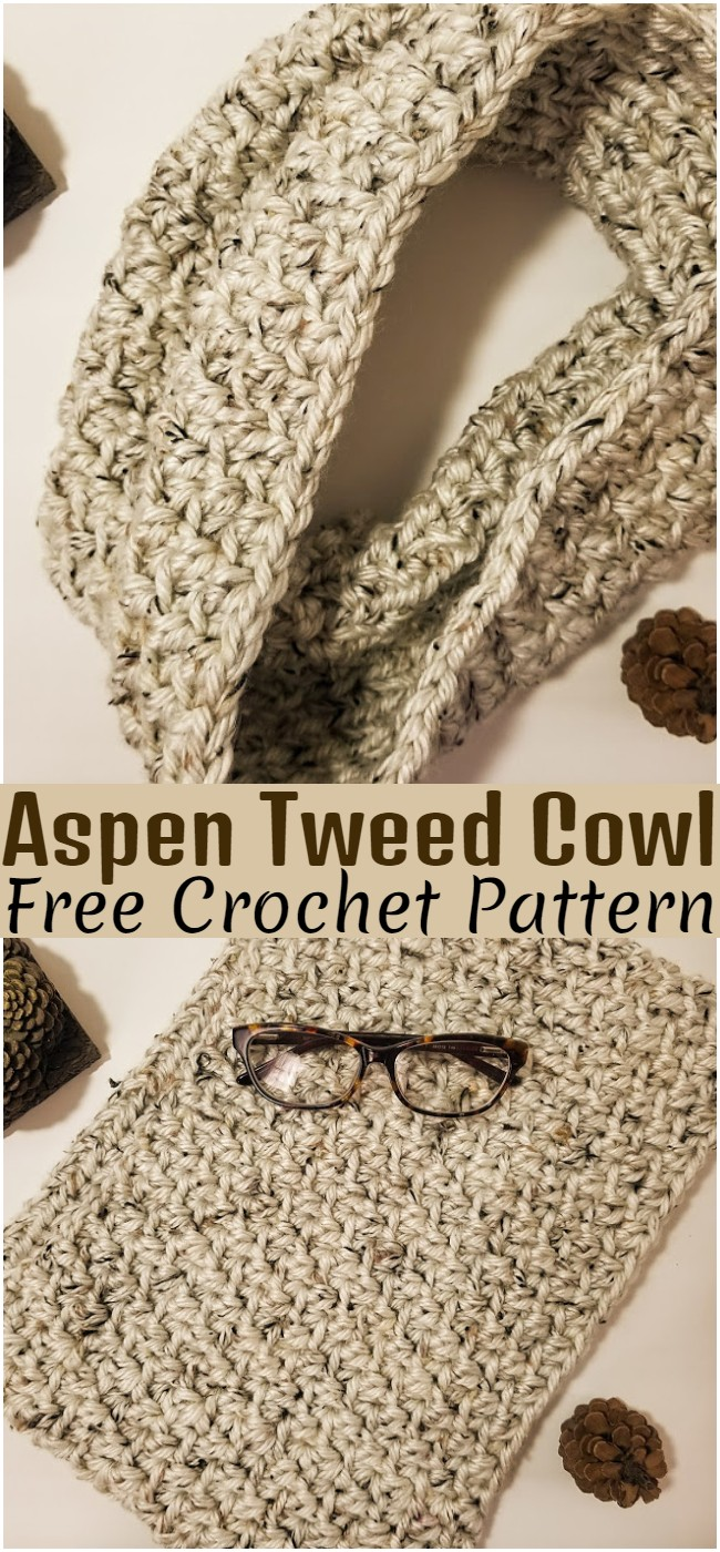 Crochet Aspen Tweed Cowl Pattern