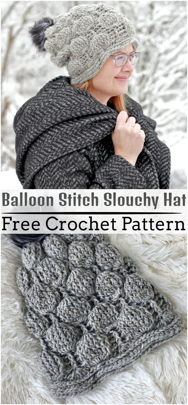 Crochet Balloon Stitch Slouchy Hat Pattern