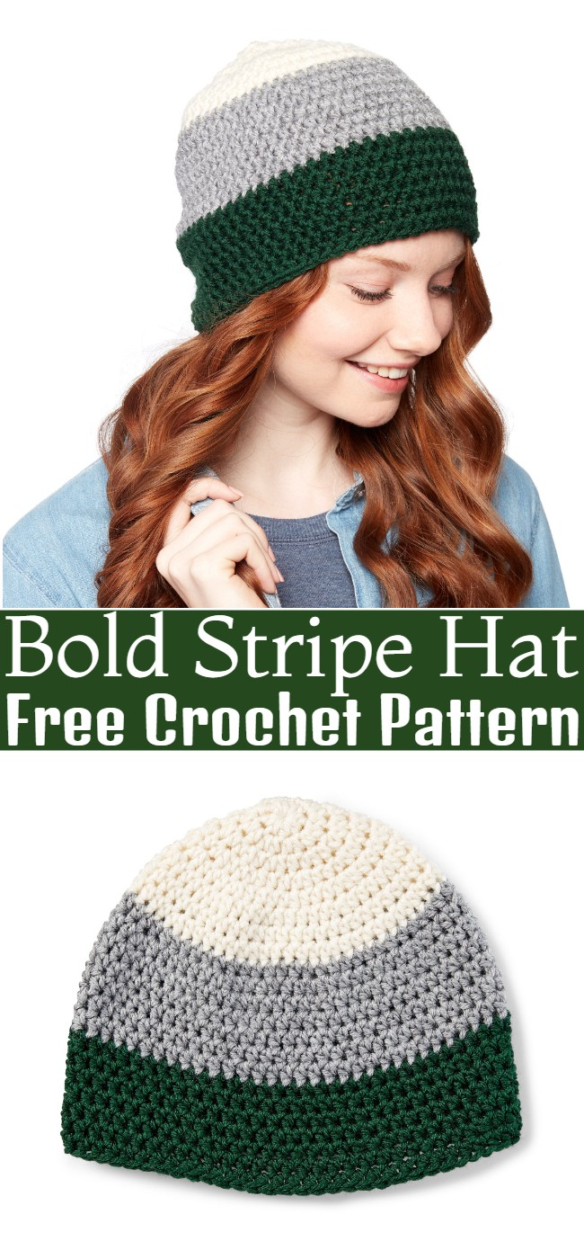 Crochet Bold Stripe Hat Pattern