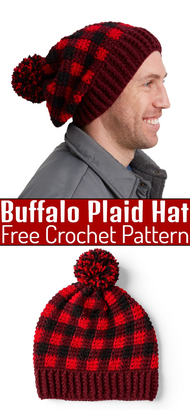Crochet Buffalo Plaid Hat Pattern