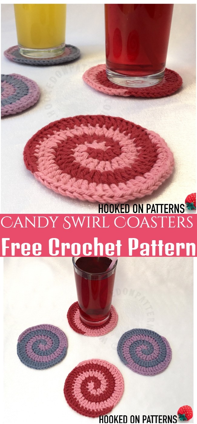 Crochet Candy Swirl Coasters PatternCrochet Candy Swirl Coasters Pattern