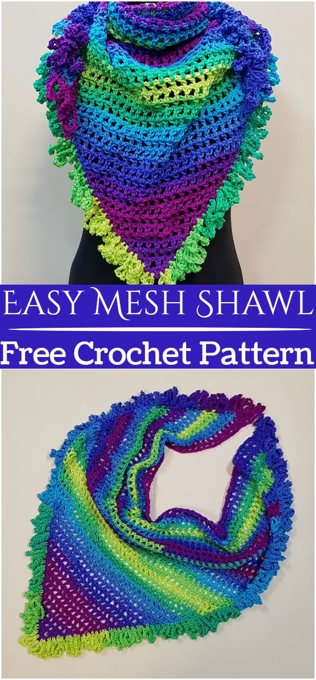 Crochet Easy Mesh Shawl Pattern