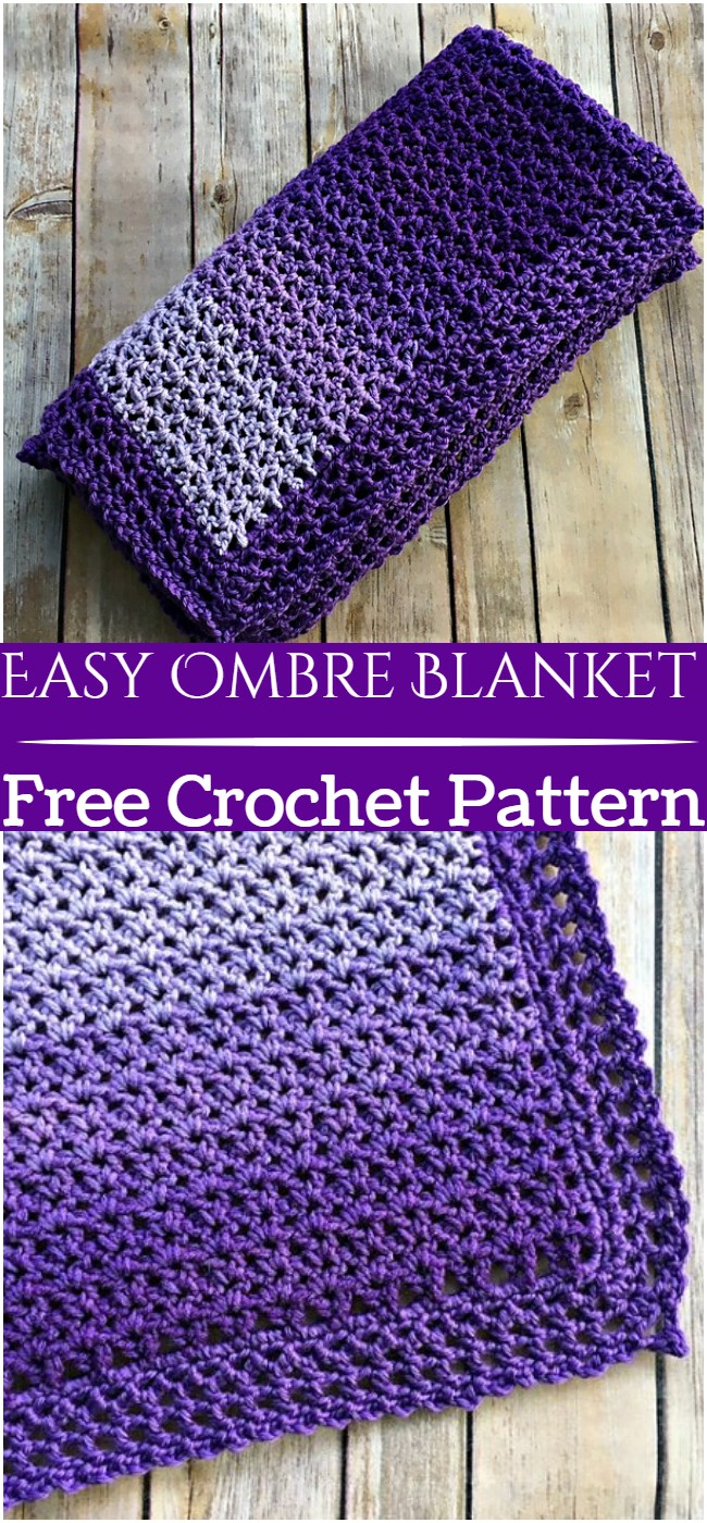 Crochet Easy Ombre Blanket Pattern