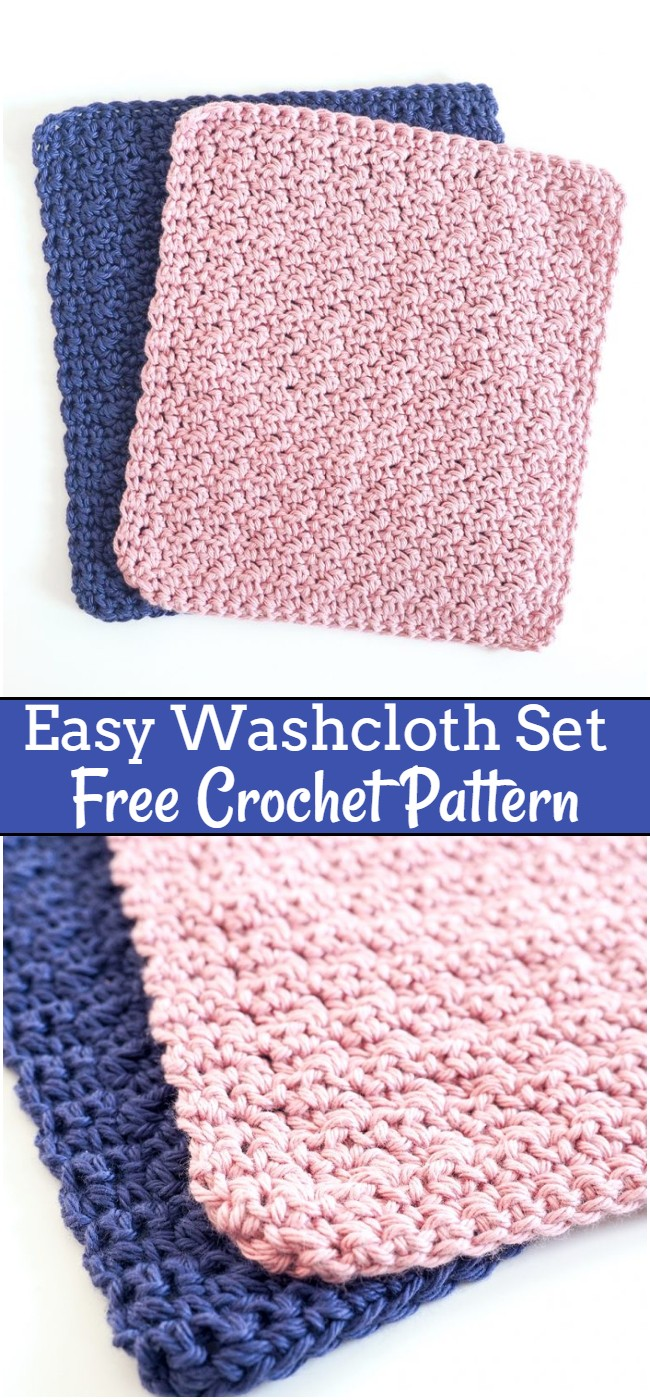 Crochet Easy Washcloth Set Pattern
