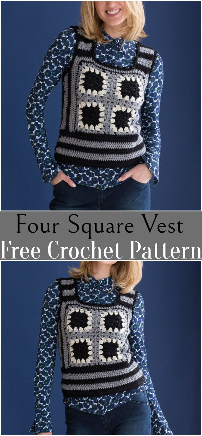 Crochet Four Square Vest Pattern
