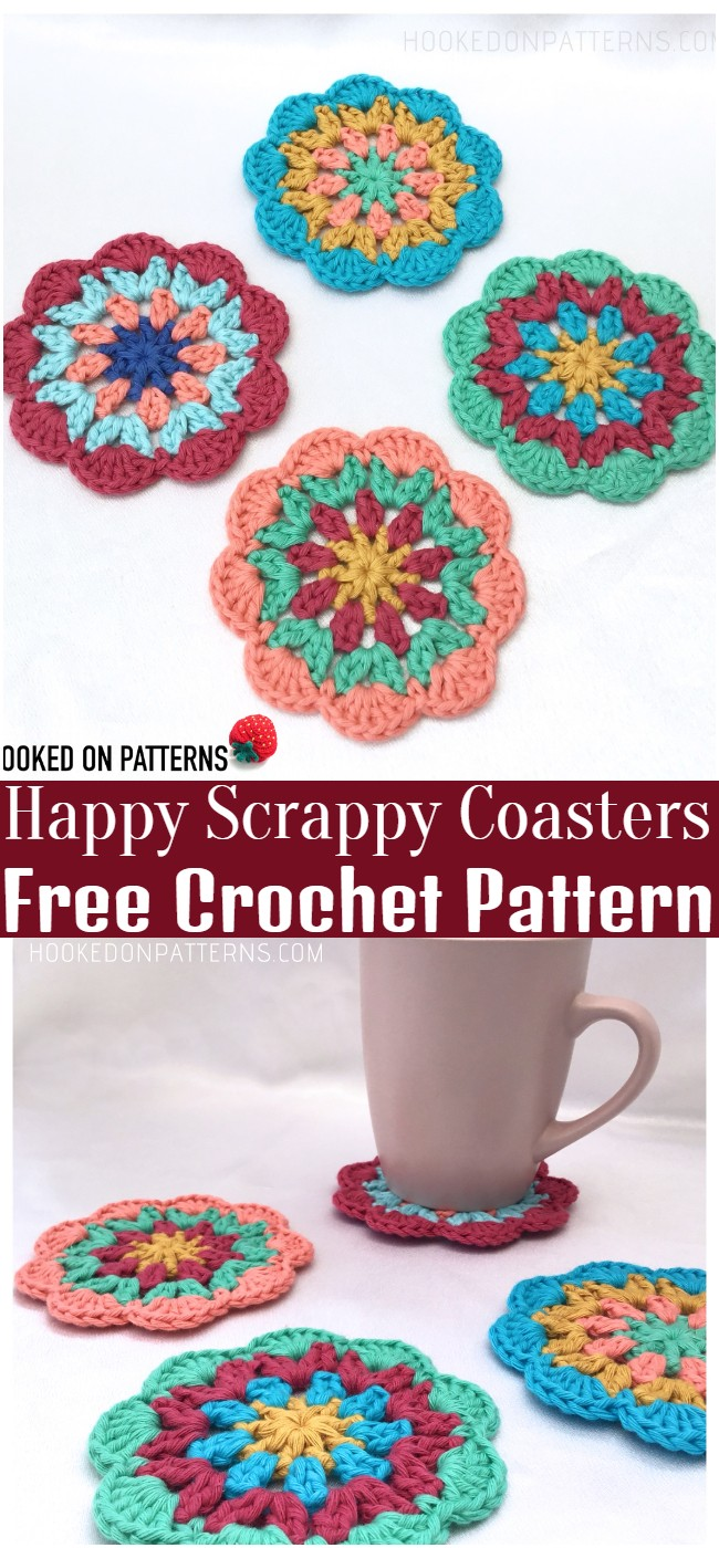 Crochet Happy Scrappy Coasters Pattern