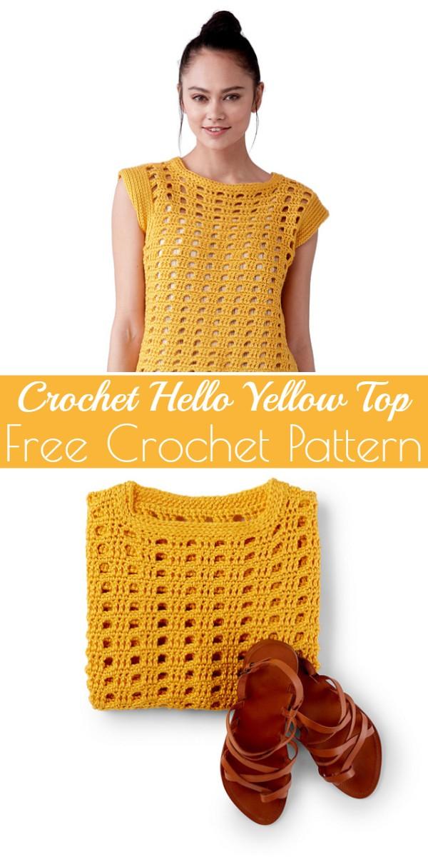 Crochet Hello Yellow Top