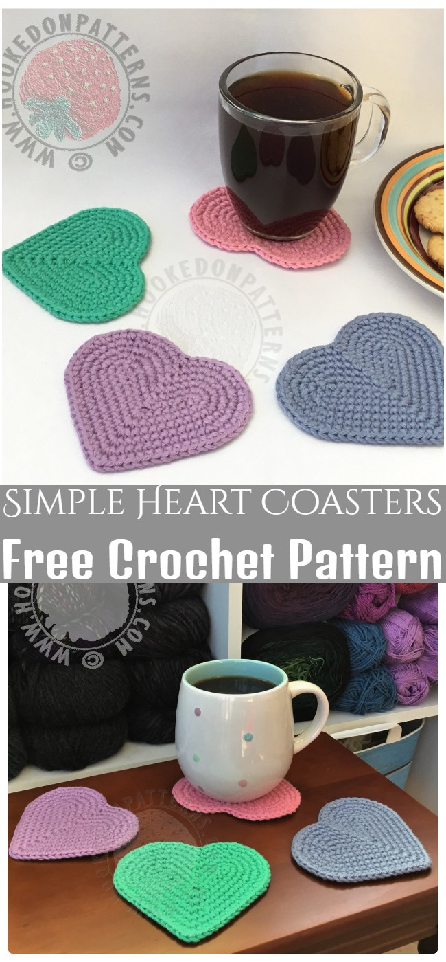 Crochet Simple Heart Coasters Pattern
