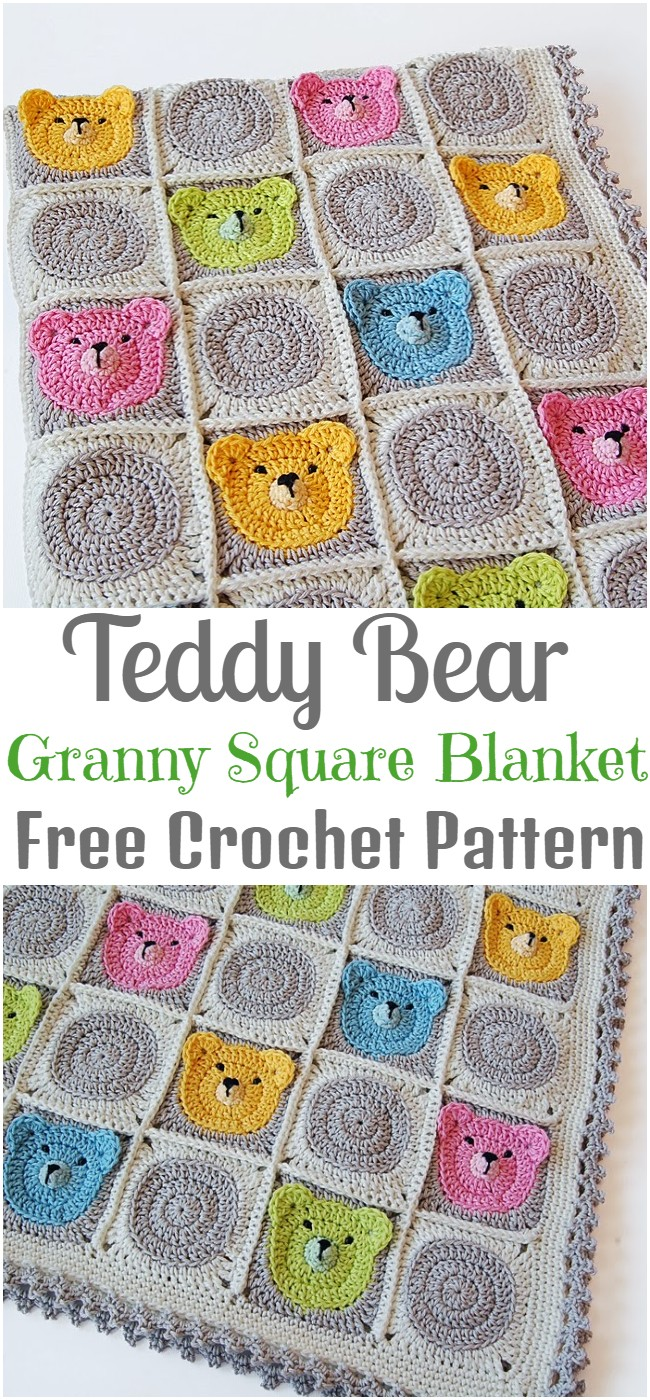 Crochet Teddy Bear Granny Square Blanket Pattern