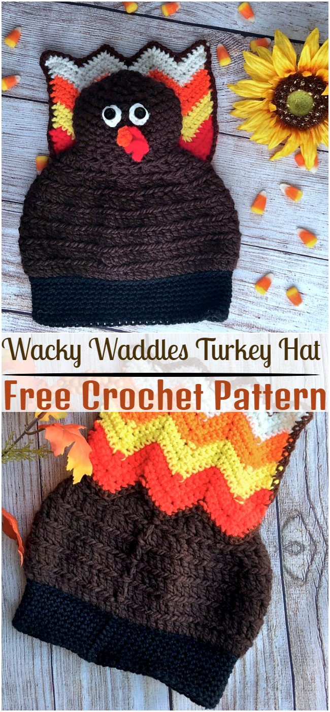 Crochet Wacky Waddles Turkey Hat Pattern