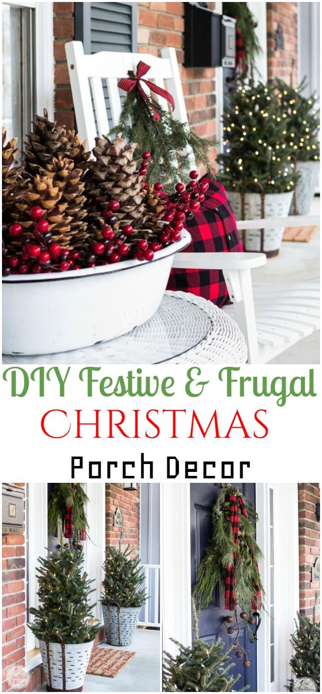 DIY Festive & Frugal Christmas Porch Decor