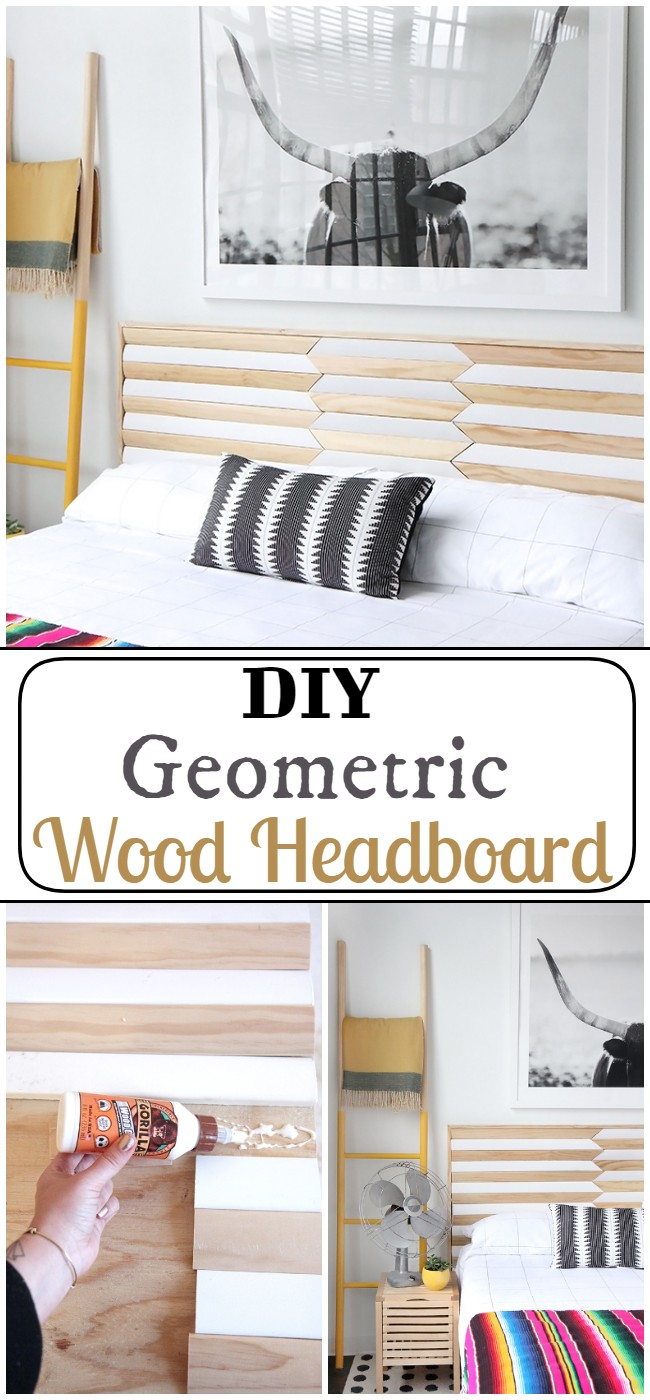 DIY Geometric Wood Headboard