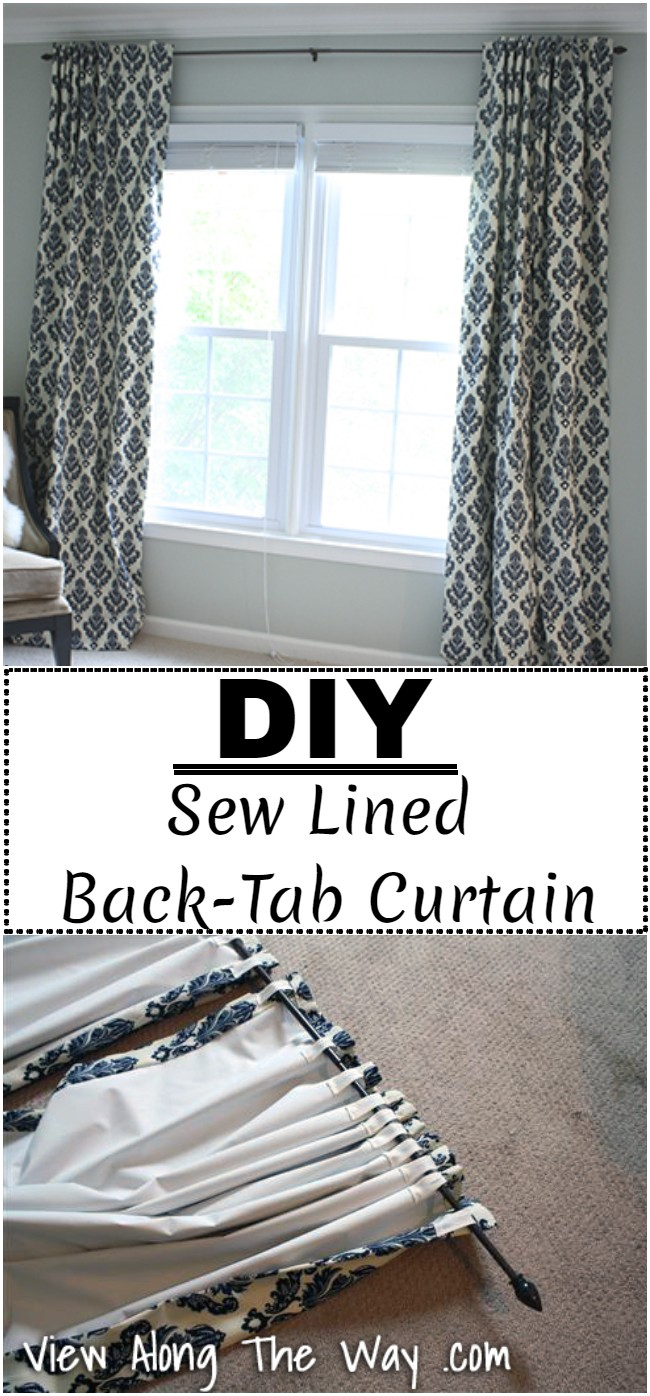 DIY Sew Lined Back-Tab Curtains