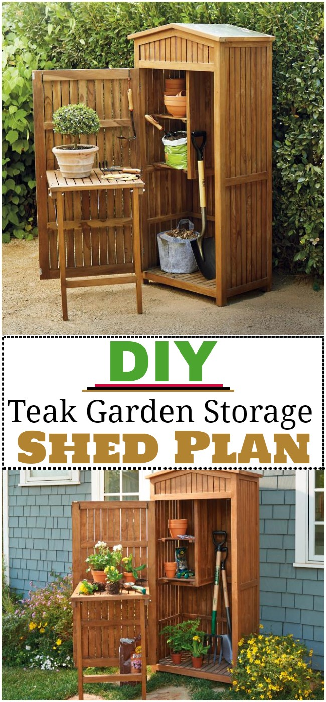 DIY Teak Garden Storage Shed Plan