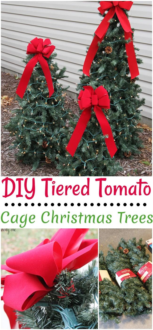 DIY Tiered Tomato Cage Christmas Trees