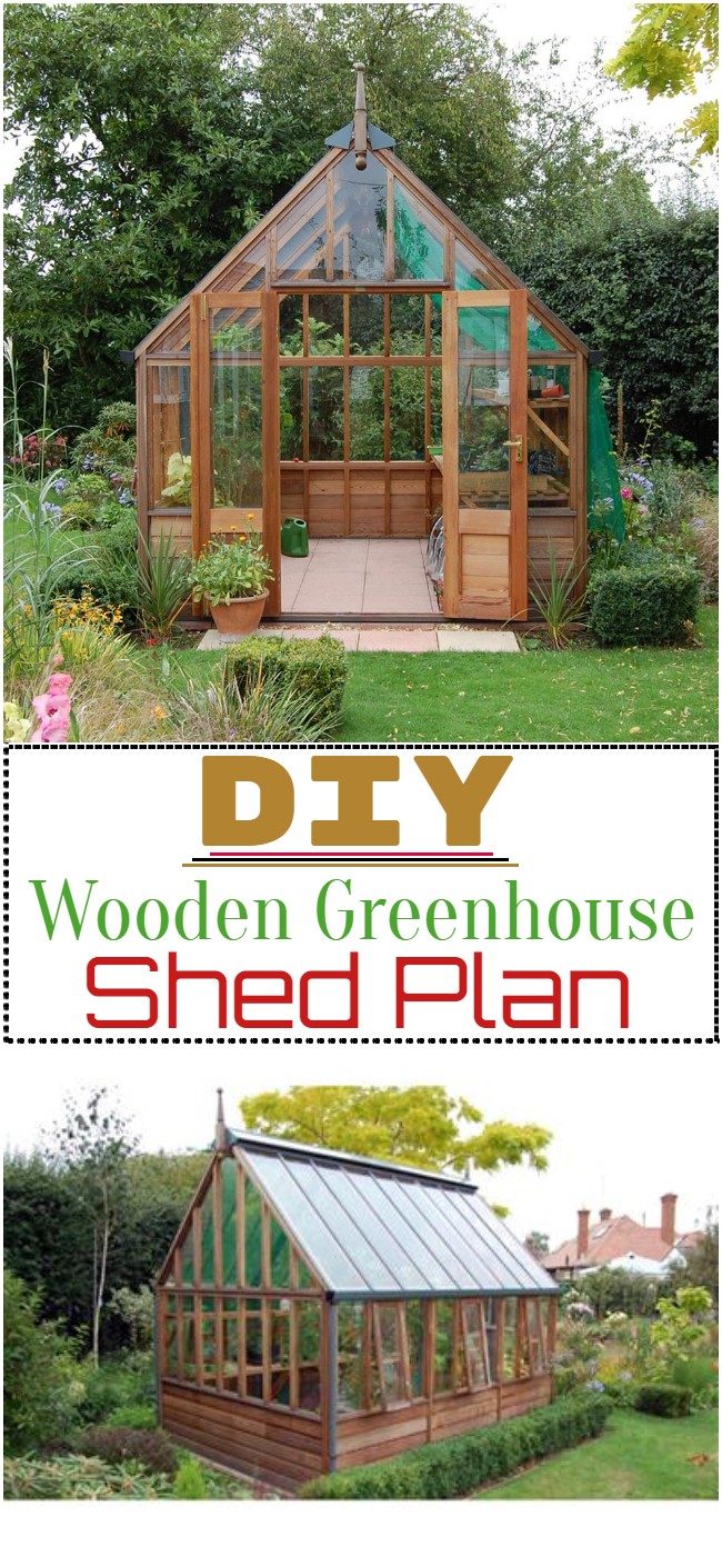 DIY Wooden Greenhouse Shed Plan