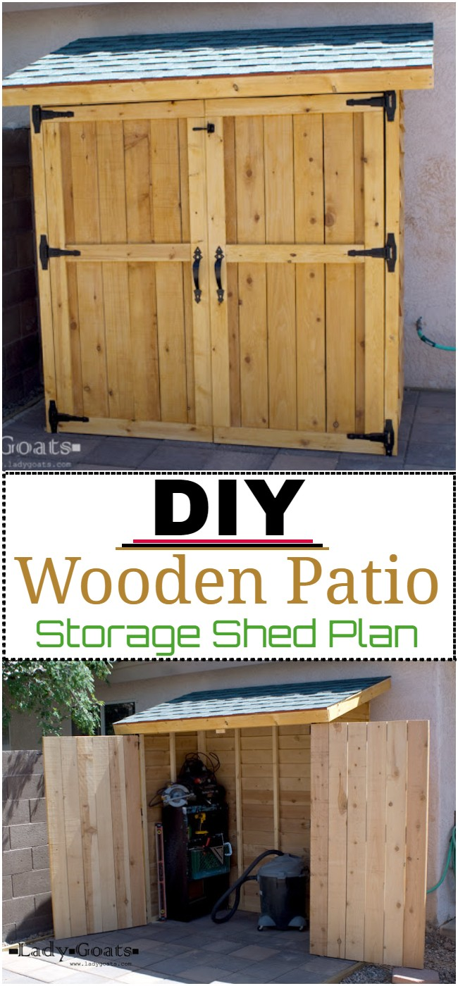 DIY Wooden Patio Storage Shed Plan