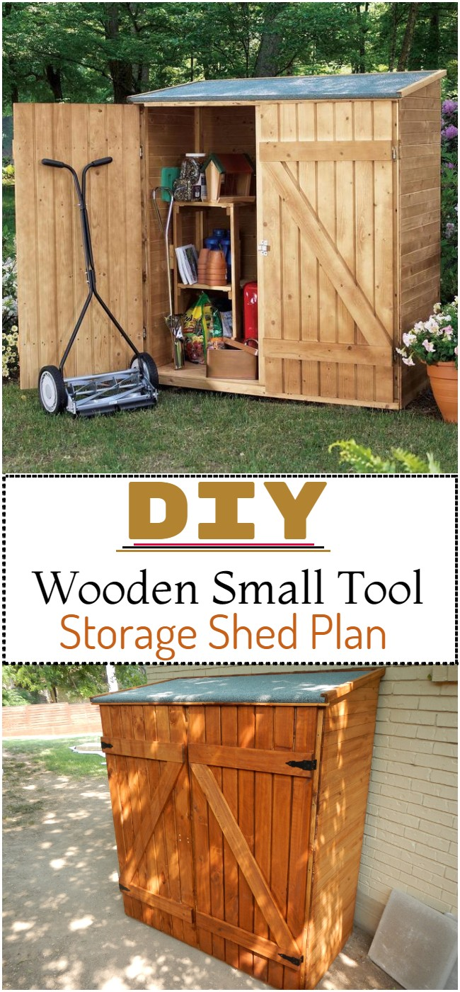 DIY Wooden Small Tool Storage Shed Plan