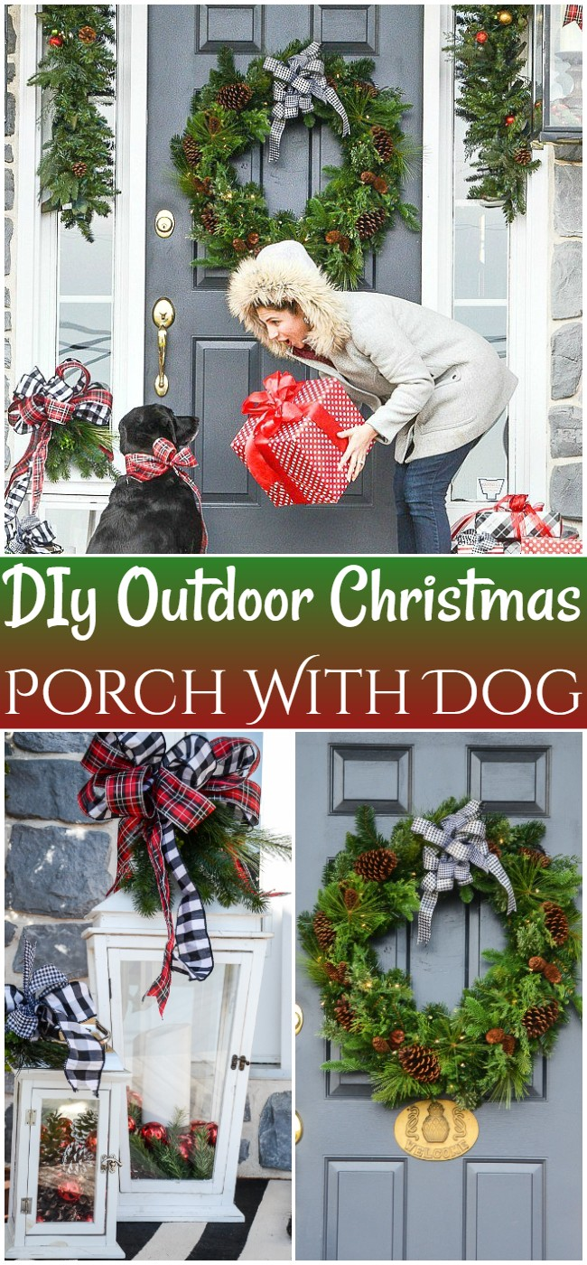 DIy Outdoor Christmas Porch With Dog