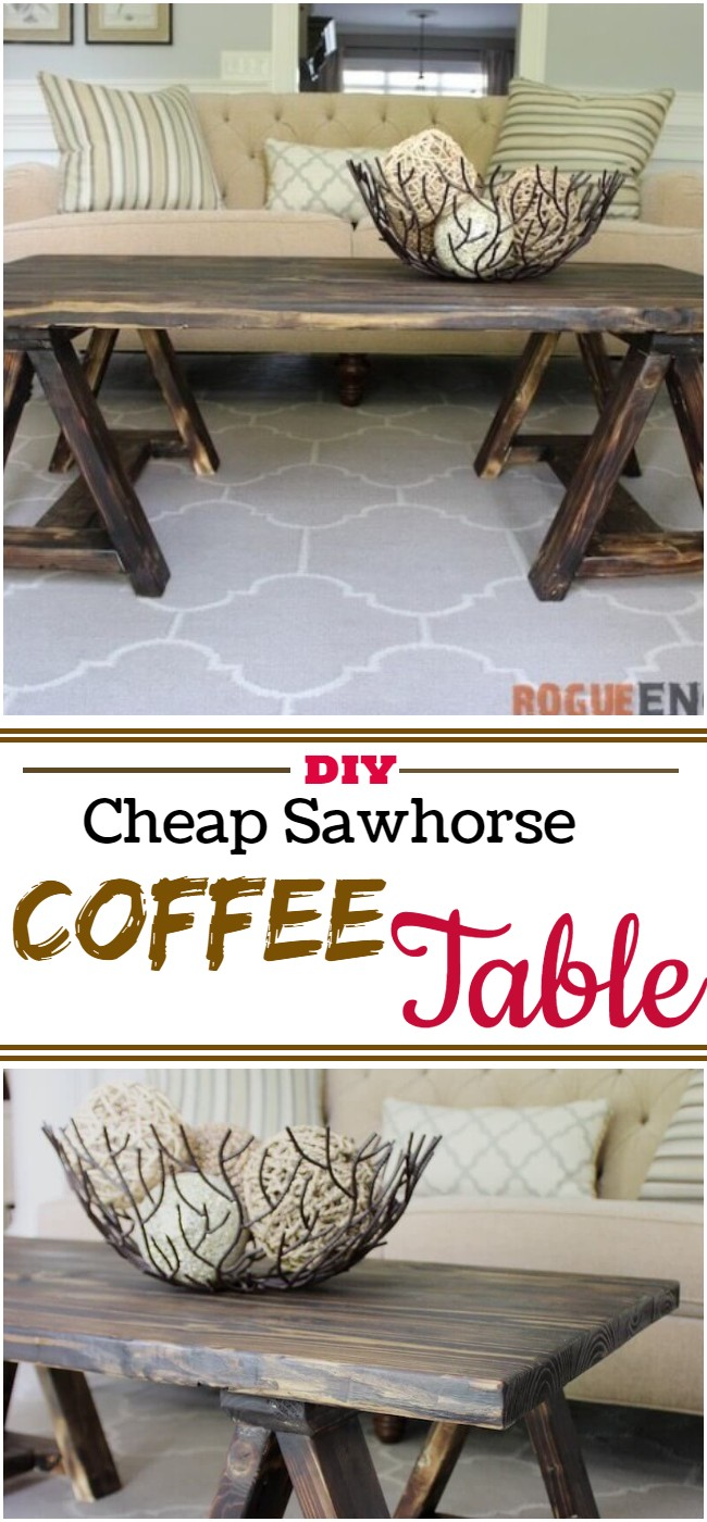 Diy Cheap Sawhorse Coffee Table