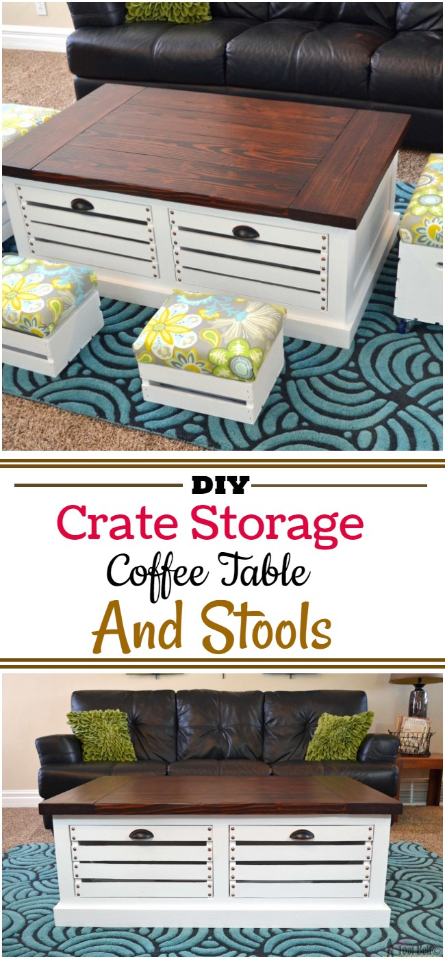 Diy Crate Storage Coffee Table And Stools