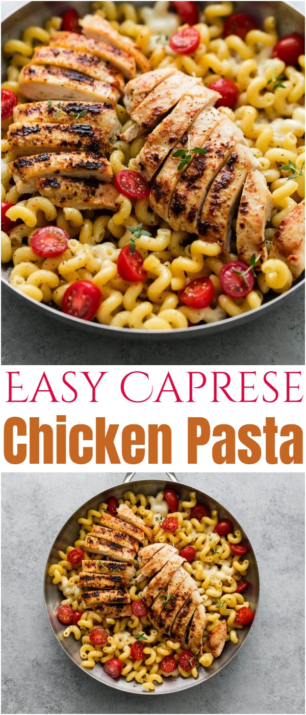 Easy Caprese Chicken Pasta